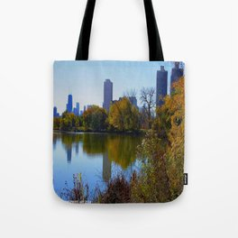 Chicago Fall Reflection (Chicago North Pond Collection) Tote Bag