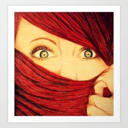 Green Eyed Beauty Art Print