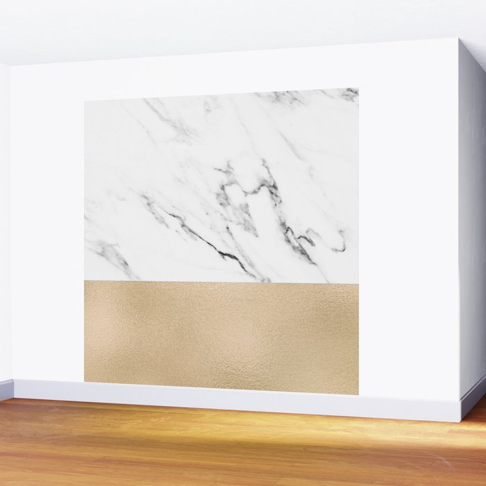 White Marble with Black and Copper Bronze Wall Mural
