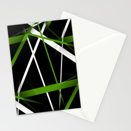 Seamless Grass Green and White Stripes on A Black Background Stationery Cards