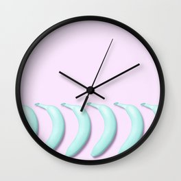 Candy Teal Bananas on Pink Wall Clock
