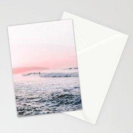 Ocean, Surfer, Pink Sunset, Beach Wall Art Stationery Cards