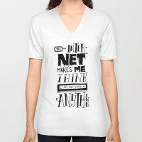 internet V-neck T-shirts featuring Internet Envy by Chris Piascik