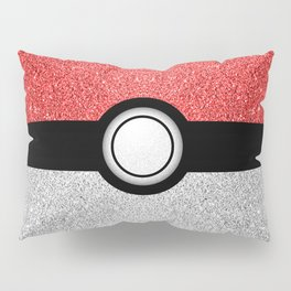 Sparkly red and silver sparkles poke ball Pillow Sham