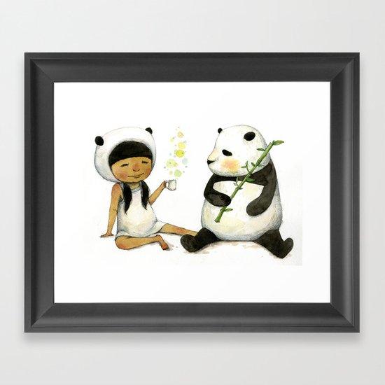 Tea Time with Panda  Framed Art Print