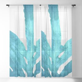 Ocean Blue Fern Sheer Curtain