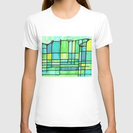 Green Frank Lloyd Wrightish Stained Glass T-shirt
