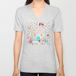 Gingerbread House with Marshmallows and Santa Unisex V-Neck