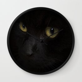 Black cat with yellow eyes Wall Clock
