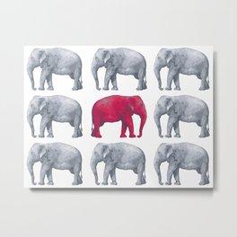 Elephants Red II Metal Print
