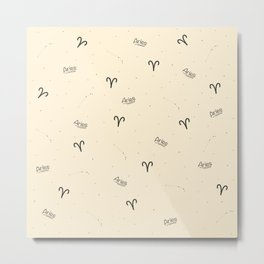 Aries Pattern - Beige Metal Print