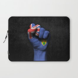 Turks and Caicos Flag on a Raised Clenched Fist Laptop Sleeve