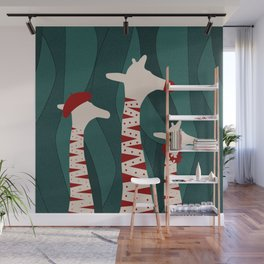 Giraffes Family Holiday Design Wall Mural