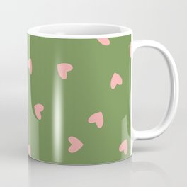 Pink Hearts on Green Background Coffee Mug