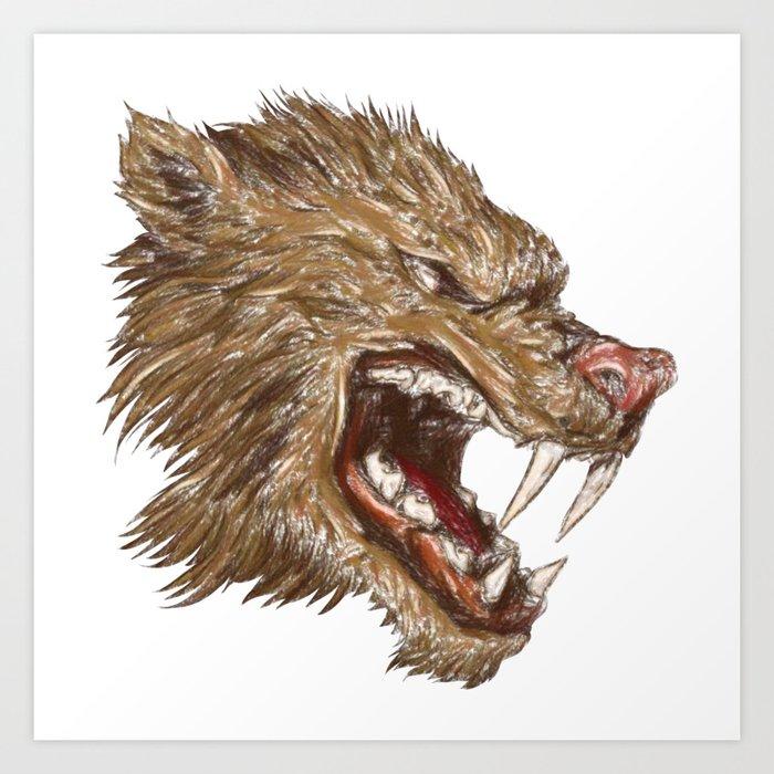 Head with sharp teeth Art Print