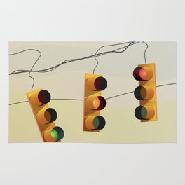Traffic lights and sunset illustration Rug