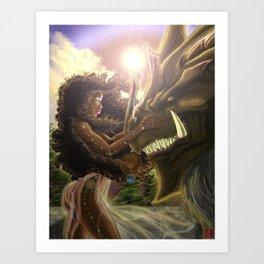 Princess and her Dragon Warrior Art Print