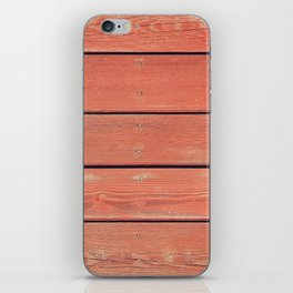 Red Wood Planks Wall iPhone Skin