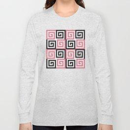 Geometric Pattern #124 (pink Greek spiral) Long Sleeve T-shirt