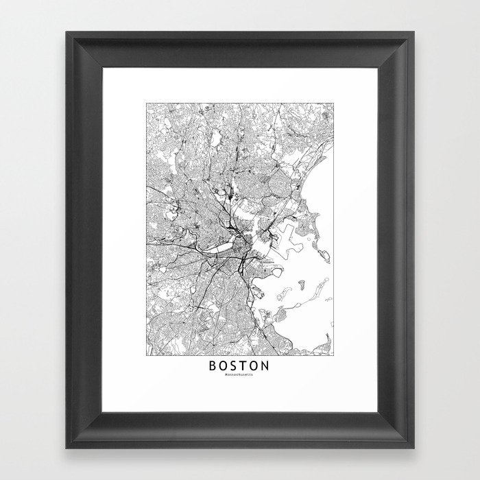 Boston White Map Gerahmter Kunstdruck