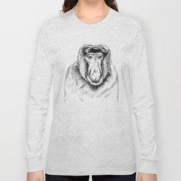 Proboscis Monkey Drawing Long Sleeve T-shirt