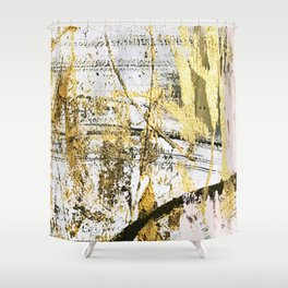 Armor [11]: a bold, elegant abstract mixed media piece in gold pink black and white Shower Curtain