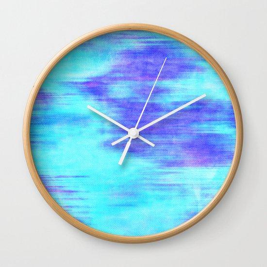 Ocean Blur - Abstract in Mint, Purple, & Royal Blue Wall Clock