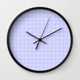Lavender blue - heavenly color - White Lines Grid Pattern Wall Clock