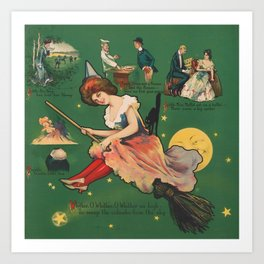 Vintage Witch on a Broomstick Illustration Art Print