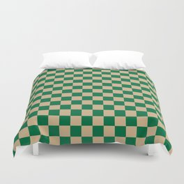 Tan Brown and Cadmium Green Checkerboard Duvet Cover