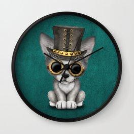 Steampunk Baby Wolf Cub on Blue Wall Clock