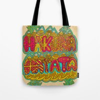 hakuna Tote Bags featuring Hakuna Color by Diego Tirigall
