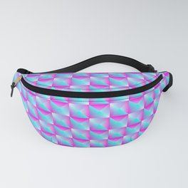 Pyromidal pattern of blue squares and pink striped triangles. Fanny Pack