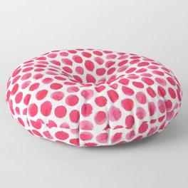 Large Red/Pink Watercolor Polka Dot Pattern Floor Pillow