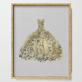 Grey & Gold Leaf Botanical Dress Serving Tray