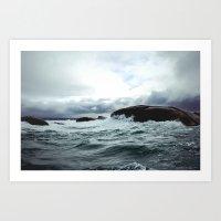 Waves at Granite Island Art Print