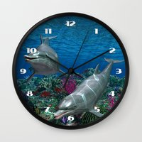 dolphins Wall Clocks featuring Dolphins by Simone Gatterwe