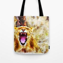 Yawning Lioness Tote Bag