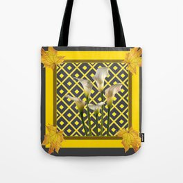 Charcoal Grey-Gold White Calla Lilies Tote Bag