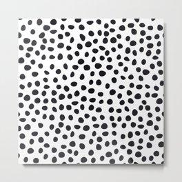 Hand Drawn Polka Dots, Spots Black &  White Metal Print