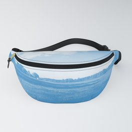 meadow barn clouds wb Fanny Pack