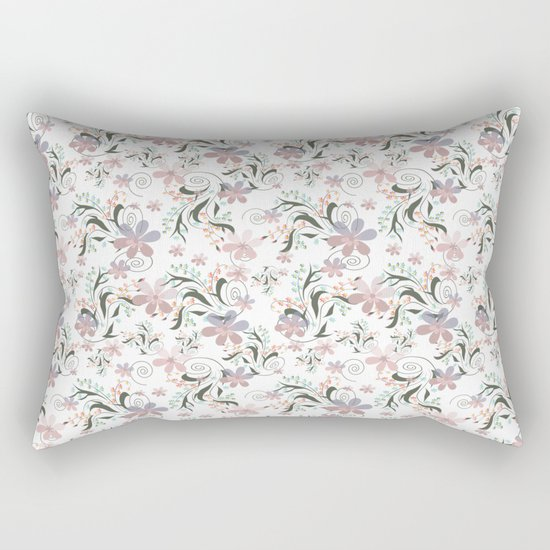 Pink blue flowers . floral pattern , flowers , illustration flowers , textiles flower , pink flowers Rectangular Pillow