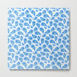 Paisley seamless pattern in blue Metal Print