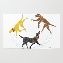 Labradors skating holiday artwork Rug