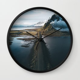 Mountain road in Iceland - Landscape Photography Wall Clock