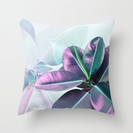 Violet Tropical Plant Throw Pillow