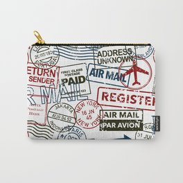 Vintage Postmarks Pattern Carry-All Pouch
