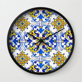 Blue Yellow Seamless Pattern Antique Portuguese Azulejo Tile Wall Clock