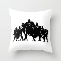 justice league Throw Pillows featuring Justice League Silhouette by iankingart