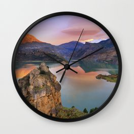 Lenticular clouds at the lake Wall Clock